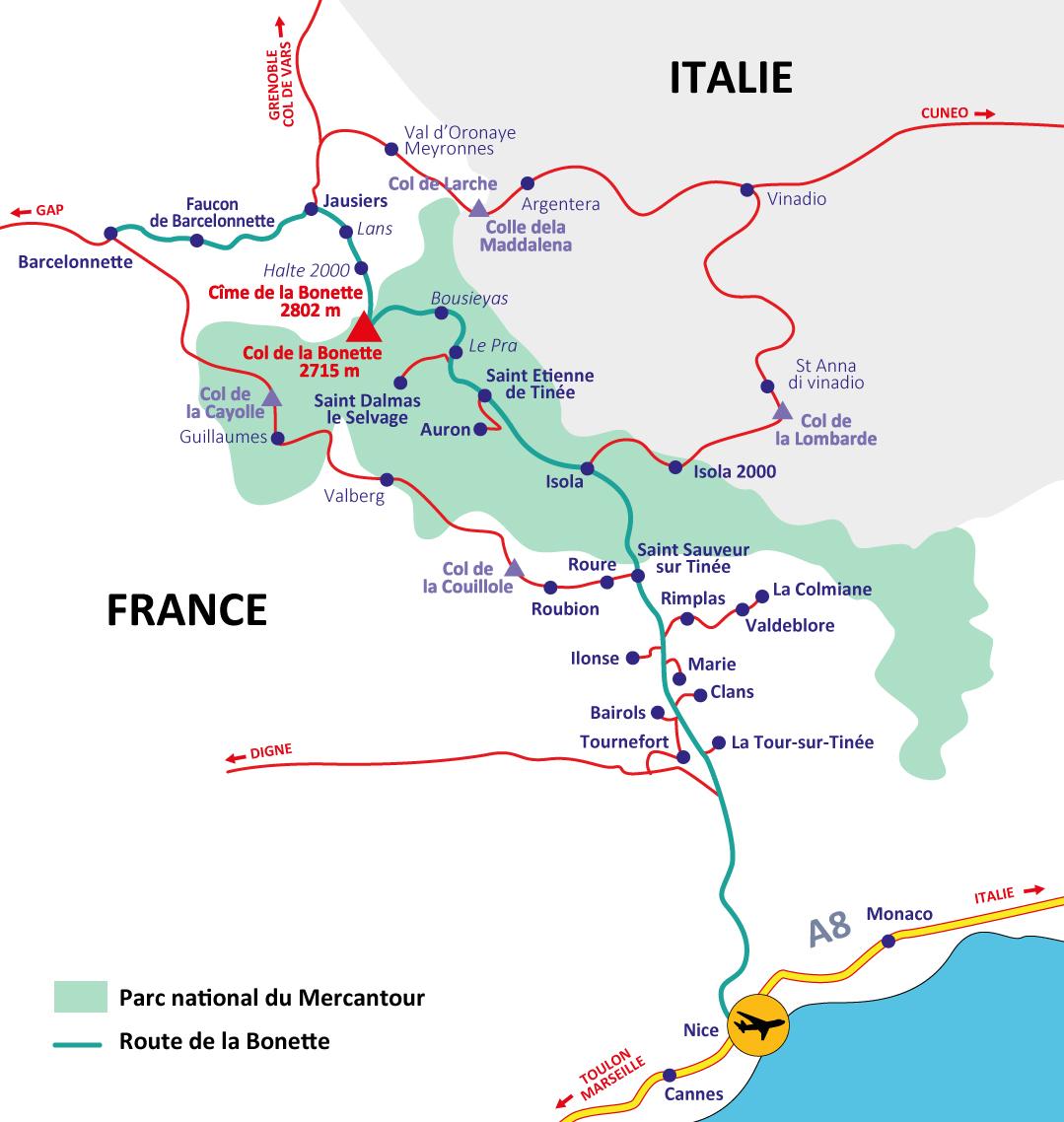 Carte route de la Bonette